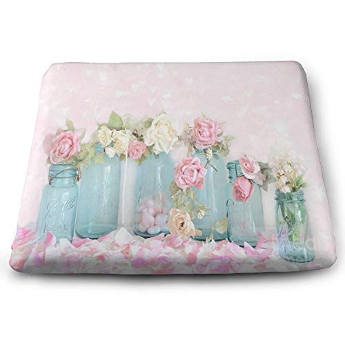 (Seat Cushion Dreamy Shabby Chic Pink White Roses Chair Cushion Customized Offices Butt Chair Pads for Kitchens)