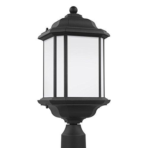 Etched Satin Glass - Sea Gull Lighting 82529-12 Kent One-Light Outdoor Post Lantern with Satin Etched Glass Panels, Black Finish