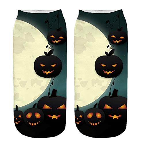 Akabsh Casual Work Business Socks 3D Halloween Pumpkin Printing Medium Sports Socks Let You Look Terror Form Clothes to The Socks
