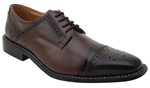 Liberty Men's Cap-Toe Oxford Handmade Leather Lace-up Dress Shoes (8, ()