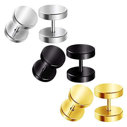 BIG GAUGES 3 Pairs Surgical Steel 16gauges 1.2 mm Fake Plugs Black Anodized Piercing Jewelry Cheater Earring Lobe (Big Ear Gauge)