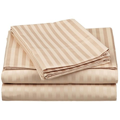 Cheap Laxlinen 300 Thread Count 100% Egyptian Cotton Super Quality 1PC Flat Sheet(Top Sheet) Queen Bed Size, Beige Stripe supplier