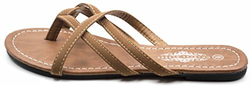 Braided Criss Easy Charles Sandals Summer Flip Albert Flops Cross Cognac EqvH4
