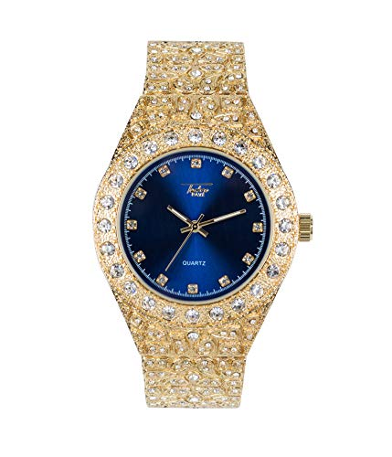 - Men's Iced Out Gold Watch with Simulated Diamonds and Nugget Style Hip Hop Band - Blue Dial
