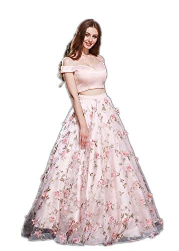 Jadore Evening V Neck Off Shoulder 2 Piece Maxi Dress A-Line Bodycon Skirt Prom Wedding Homecoming Party Gown, Pink Color Size 18
