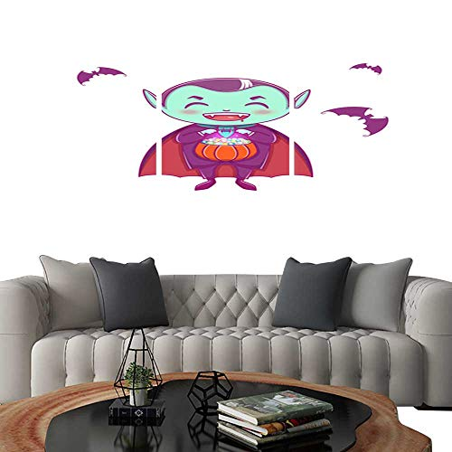 UHOO Prints Wall Art PaintingsHalloween Little Vampire Dracula Boy Kid with Smiling face in Halloween Costume with Pumpkin in his Hands Customizable Wall Stickers 12