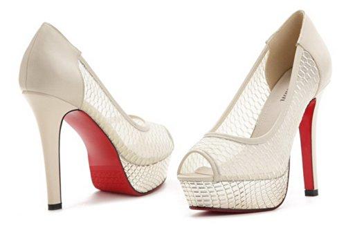 VogueZone009 Womens Open Peep Toe High Heel Platform Stiletto PU Soft Material Solid Sandals, Beige, 4.5 UK
