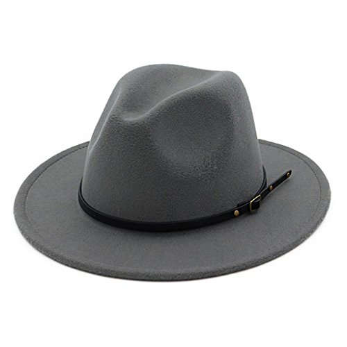 Lisianthus Women Belt Buckle Fedora Hat Grey (Grey Fedora Hat)