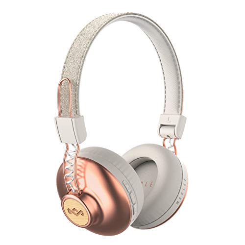 House of Marley, Positive Vibration 2 Wireless Headphones | Noise Isolating, In-Line 1-Button Mic on Cable, Removable Tangle-Free Cable, Long Battery Life, Foldable On-Ear Design | Copper