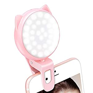 Selfie Ring Light for iPhone, Mini Clip on Fill Light for Camera, Video, Rechargeable 9-Level Adjustable Brightness…