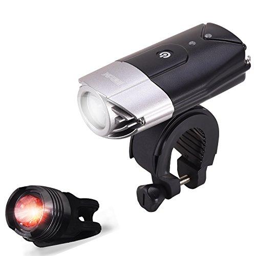 WONTECHMI Bike Light Set, LED Bike Lights Front And Back, USB Rechargeable Super Bright Bicycle Lights, Bike Headlight, IP65 Waterproof,Tail Light and Helmet Mount, Christmas Gift (black)