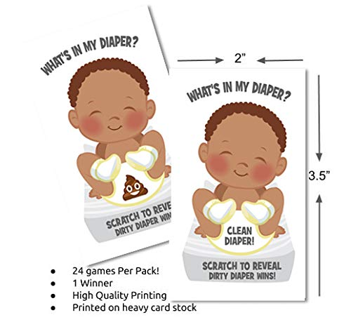 Whats In My Diaper Baby Shower Scratch Off Game | African American | 24 Cards | Baby Shower Scratch Off Tickets | Poopy Diaper Baby Shower Scratchers | Baby Shower Game Ideas