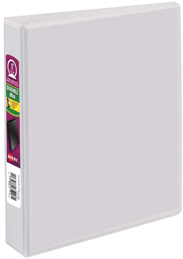 Avery Durable View 3 Ring Binder, 1 Inch, Round Rings, 5.5 Inch x 8.5 Inch, White, 2 Pockets, 175 Sheet Capacity (17116)