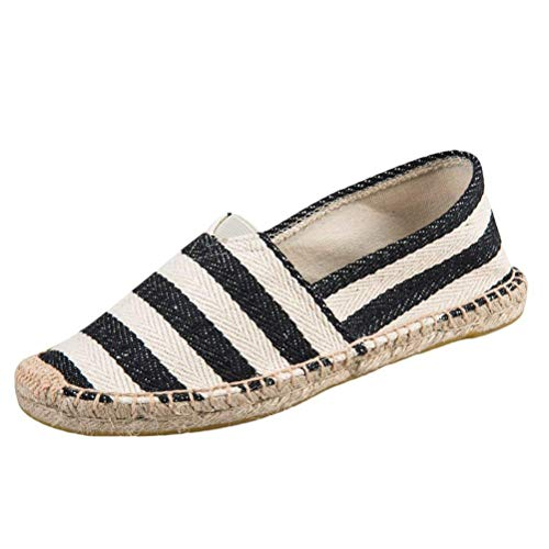 Lona Minetom Mujer Zapatos Suave Planos Unisex Slip Alpargatas Loafer Rayas Ocasionales Espadrille Negro On Hombre Comodidad Amantes Moda Lino tHrTwHZq