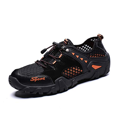 - FLARUT Men's Sandals Barefoot Hiking Shoes Quick Dry Breathable Mesh Lightweight Outdoor Training Water Walking Shoes  (D-Black, EU46)