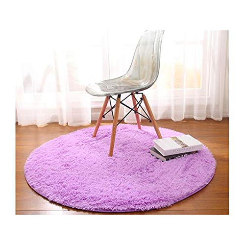 - JUN European Round Carpet Bedroom mat Hanging Basket Rattan Cushion Computer Chair Floor mat Dressing Table Floor Mirror Floor mat Cute (Color : Purple, Size : XL)