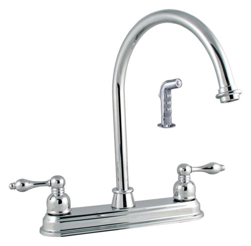 [LDR 950 32507CP Double Handle Kitchen Faucet with Spray, Chrome] (4 Cp Double Handle)