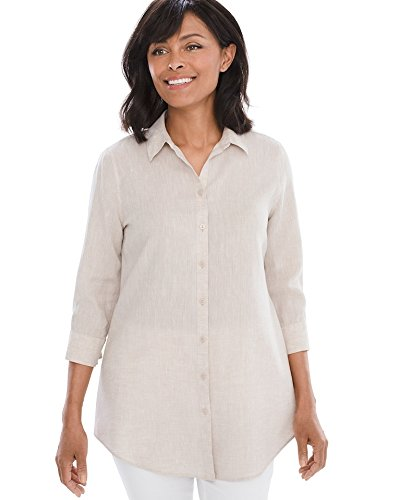 4407fab311d8 Galleon - Chico s Women s No-Iron Linen Loop-Back Tunic Size 16 18 XL (3)  Natural