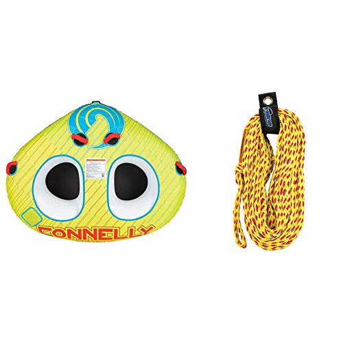 CWB Classic Wing 2 Durable Inflatable Towable 2 Rider Donut Water Tube, YellowCWB Connelly Proline 60 Foot 2 Ride Tube Rope with Braided Neoprene, Volt Red