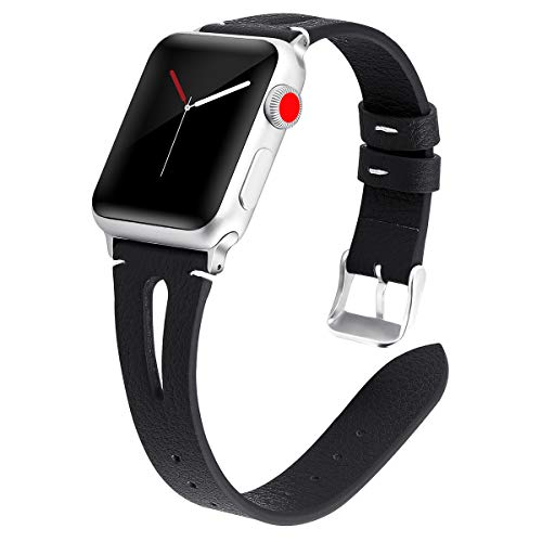 Accessories Tumbled Black - Kaome Leather Band Compatible for Apple Watch Band 44mm 42mm, Slim Elegant Strap, Women Replacement Bands for iWatch Series 4, Series 3, Fashionable Feminine Breathable Slit Design-Black