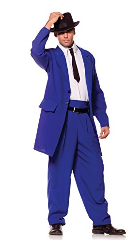 Underwraps Costumes Men's Zoot Suit Mobster Costume, Blue/White/Black, One Size