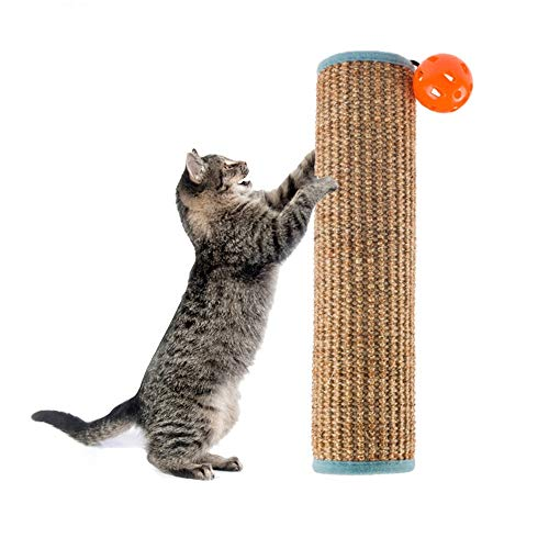- Dreamsoule Natural Sisal Cat Kitten Scratching Post for Claw Furniture Protecting,Cat Scratching Mat with Sound Bell Ball Toys for Table Chair Sofa Legs Protector (Style A)