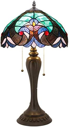 Tiffany Style Lamp Stained Glass Table Lamps Green Liaison Desk Light Wide 12 Height 22 Inch for Living Room Bedroom Antique Dresser Coffee Table Beside Bookcase S160G WERFACTORY