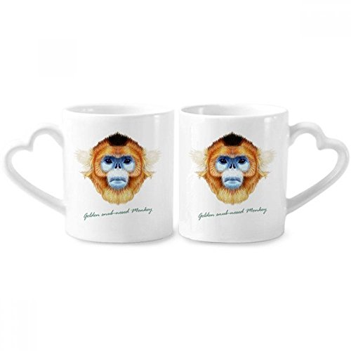 Golden Snub-nosed Monkey Animal Couple Mugs Ceramic Lover Cups Heart Handle 12oz Gift