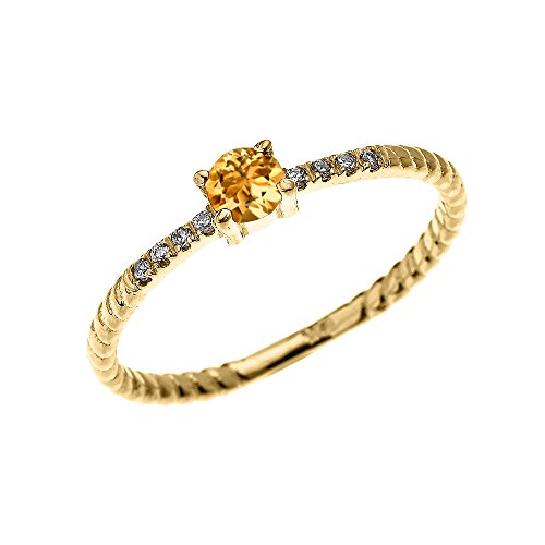 Citrine Rope - 10k Yellow Gold Dainty Diamond and Solitaire Citrine Rope Design Stackable/Proposal Ring (Size 5.5)