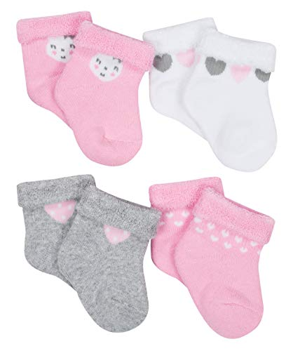 (Gerber Newborn Baby Girl Wiggle Proof Stay On, Organic Cotton Ankle Bootie Sock, 4-Pack)