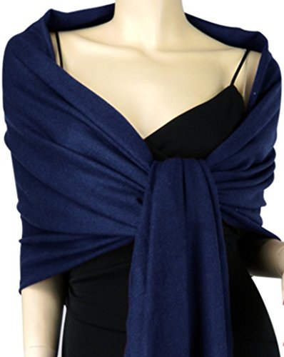 - 2PLY LONG 78X28 Solid Silk Pashmina Shawl Wrap Stole Cashmere Wool Silk Scarf (Navy Blue)
