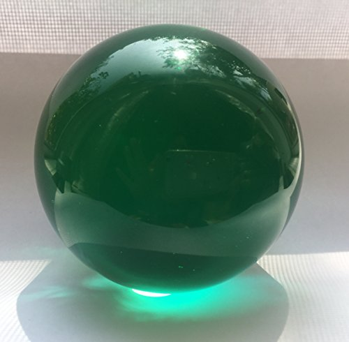 SunRise Natural Feng Shui Bright Meditation Crystal Ball Sphere Healing Gemstone 70MM Crystal (Emerald Green) ()