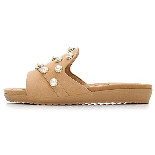 Pantoufles Beige de Décontractées de l'été pour Sandales Femmes Les Glissent Pantoufle JITIAN extérieures 7pwBxYWz
