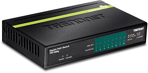 TRENDnet 8-Port GREENnet Gigabit PoE+ Switch, 61W PoE Budget, 16Gbps Switching Capacity, Plug N Play, TPE-TG82G