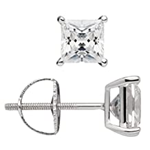 14K Solid White or Yellow Gold Princess Cut Cubic Zirconia Stud Earrings, Screw Back Posts (2.0 ctw, Diamond Equivalent), Gift Box