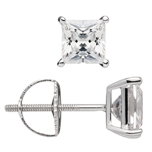 Everyday Elegance | 14K Solid White Gold | Princess Cut Cubic Zirconia Stud Earrings | 2.0 ctw | Screw Back Posts | With Gift Box