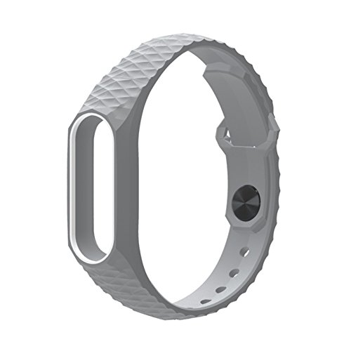 Wrist Strap Original (Original Mijobs Xiaomi Mi Band 2 Strap Aurora double color Silicone Wrist Strap for Mi band 2 Bracelet Replacement Wristband( grey and white))