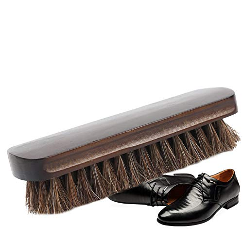 Horsehair Shoe Brush Polish Natural Leather Real Horse Hair Soft Polishing Tool Cleaning Cleaner Brushes for Suede Nubuck Boot