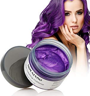Hair Coloring Wax, Purple Disposable MOFAJANG Instant Matte Hairstyle Mud Cream Hair Pomades for Kids Men Women to Cosplay Nightclub Masquerade Transformation]()