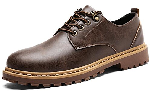 IDIFU Mens Fashion Round Toe Low Top Lace Up Oxfords Office Shoes Brown GrBMYlo