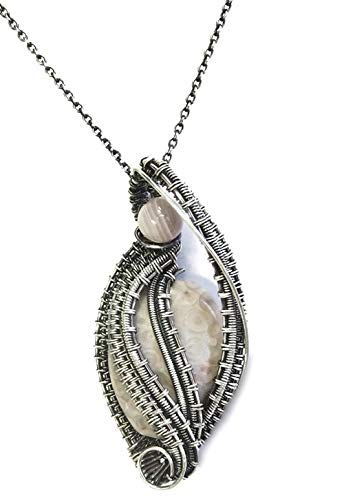 Crinoid Fossil & Antiqued Sterling Silver Necklace with Botswana Agate, Wire-Wrapped