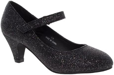 Girls Black Glitter Party Shoes Size