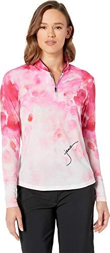 Jamie Sadock Women's Sunsense¿ 50 UVP 1/4 Zip Long Sleeve Top with Wildflower Print Yum Yum Pink Small ()
