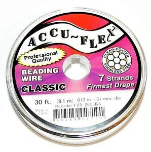 Steven_store WC159 Silver Accu-Flex Classic .014-Inch 7-Strand Beading Wire 30' Spool Making Beading Beaded Necklaces Yoga Bracelets