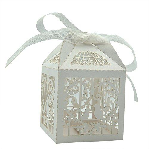 KEIVA 70 Pack White Love Birds Laser Cut Favor Candy Box Bom