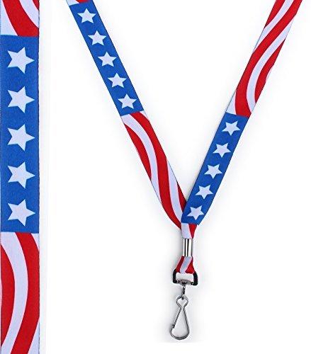 Usa Lanyard - American Flag Neck Lanyard for Keys or Badge - Red, White, Blue