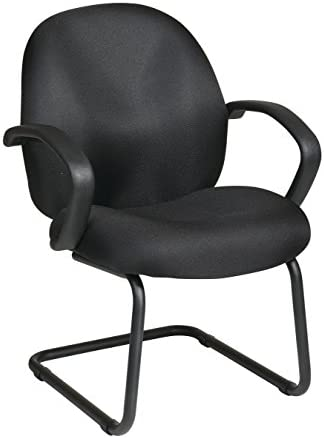 Office Star Conference Visitors Chair with Padded Fabric Contour Seat and Back, Fixed Arms, and Sled Base, Black