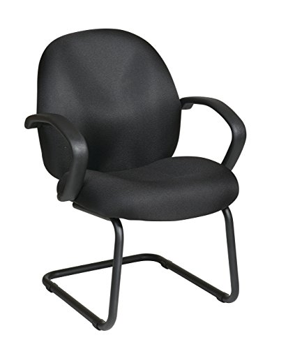 Office Star Conference/Visitors Chair with Padded Fabric Contour Seat and Back, Fixed Arms, and Sled Base, Black by Office Star
