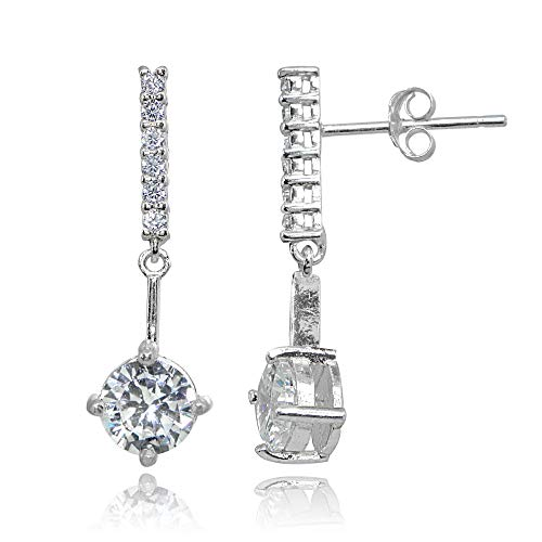 Sterling Silver Cubic Zirconia Round-cut Encrusted Bar Statement Dangle Drop ()