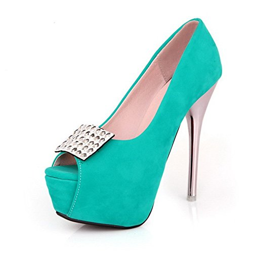 AllhqFashion Women's Frosted Peep Toe High Heels Pull-on Solid Sandals Green